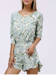 V Neck Ruffle Floral Romper - LIGHT GREEN