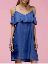 Fashionable Strappy Ruffled Cold Shoulder Denim Dress For Women -