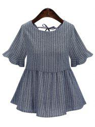 Striped Back Lace-Up Frilled Blouse - GRAY