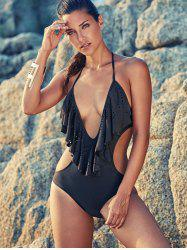Flirty Deep V Neck One-Piece Women's Flounce Swimsuit
