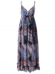 Bohemian Print Long Slip Beach Dress - COLORMIX