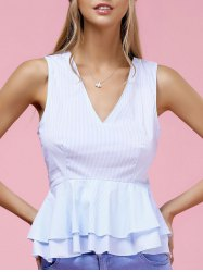 Fashionable V-Neck Pinstriped Ruffle Top For Women -