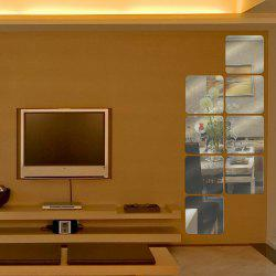 DIY 6Pcs/Set Square Piece Jigsaw Removeable Acrylic Mirror Wall Stickers