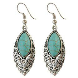 Fake Turquoise Filigree Drop Earrings