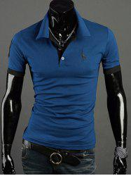 Turn-Down Collar Giraffe Embroidered Short Sleeve Polo T-Shirt For Men