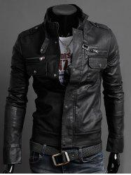 Stand Collar PU-Leather Belt Embellished Epaulet Long Sleeve Jacket For Men - BLACK