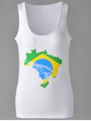 Brief U-Neck Map Print Tank Top For Women