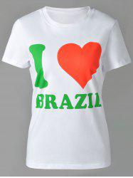 Casual Round Neck Letter and Heart Print Short Sleeve T-Shirt For Women - WHITE XL