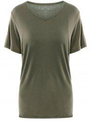Simple V Neck Short Sleeves Pure Color Women's T-Shirt - ARMY GREEN XL