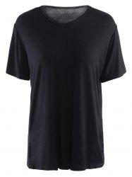 Simple V Neck Short Sleeves Pure Color Women's T-Shirt -