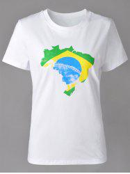Casual Round Neck Brazilian Flag Print Short Sleeve T-Shirt For Women -
