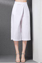 Elastic Solid Color Loose-Fitting Wide Leg Pants -