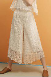 Lace Hollow Out Zippered Wide Leg Pants -