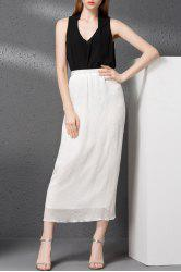 Chiffon Tank Top and Solid Color Straight Skirt -