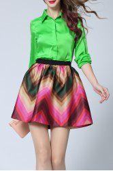 Hit Color Zig Zag Print Skirt -