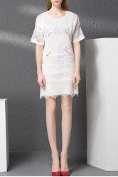 Zippered Embroidery Hollow Out Dress -