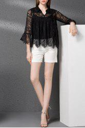 Lace Hollow Out See-Through T-Shirt -