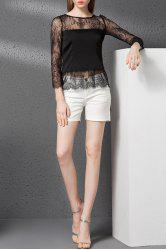 Lace Insert See-Through Hollow Out T-Shirt -