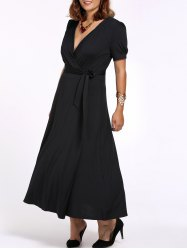 Plus Size Tie Belt Maxi Surplice Dress