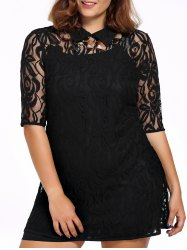 Chic Plus Size Black Cami Dress + Flat Collar Lace Dress Women's Twinset - BLACK 3XL