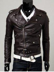 Turn-Collar PU-Leather Belt Embellished Epaulet Long Sleeve Jacket For Men -