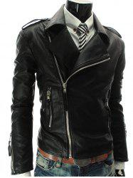 Stand Collar PU-Leather Zipper Epaulet Long Sleeve Jacket For Men