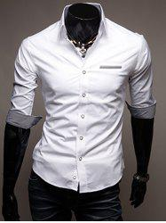 Turn-Down Collar Edging Design Shirt For Men - WHITE