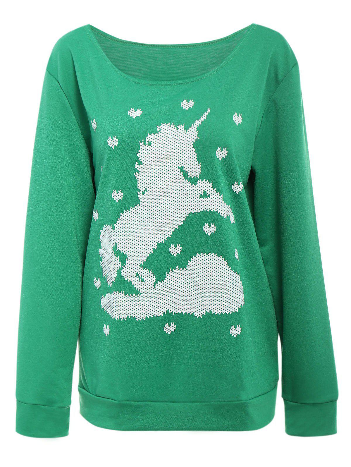 Trendy Cute Horse and Heart Printed Skew Neck Pullover Sweatshirt For Women