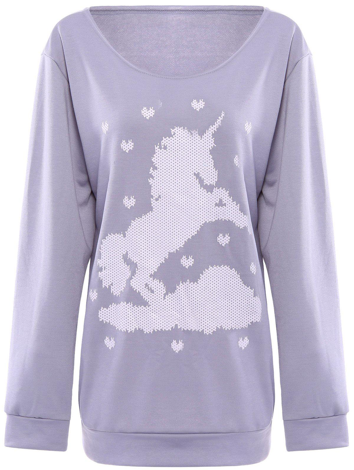 Hot Cute Horse and Heart Printed Skew Neck Pullover Sweatshirt For Women