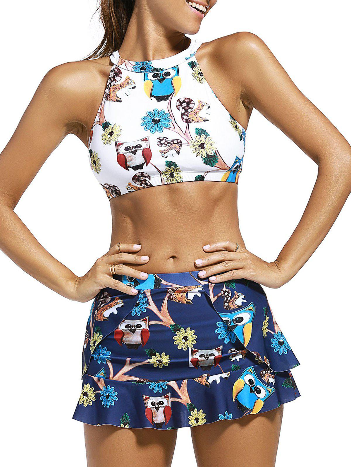 Buy High Neck Animal Print Crop Top with Skirt + Briefs Swimsuit