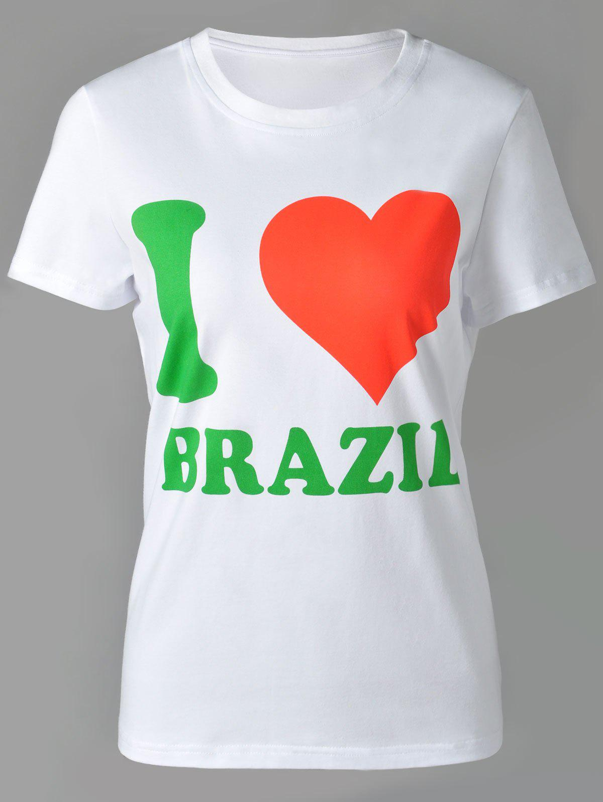 Online Casual Round Neck Letter and Heart Print Short Sleeve T-Shirt For Women