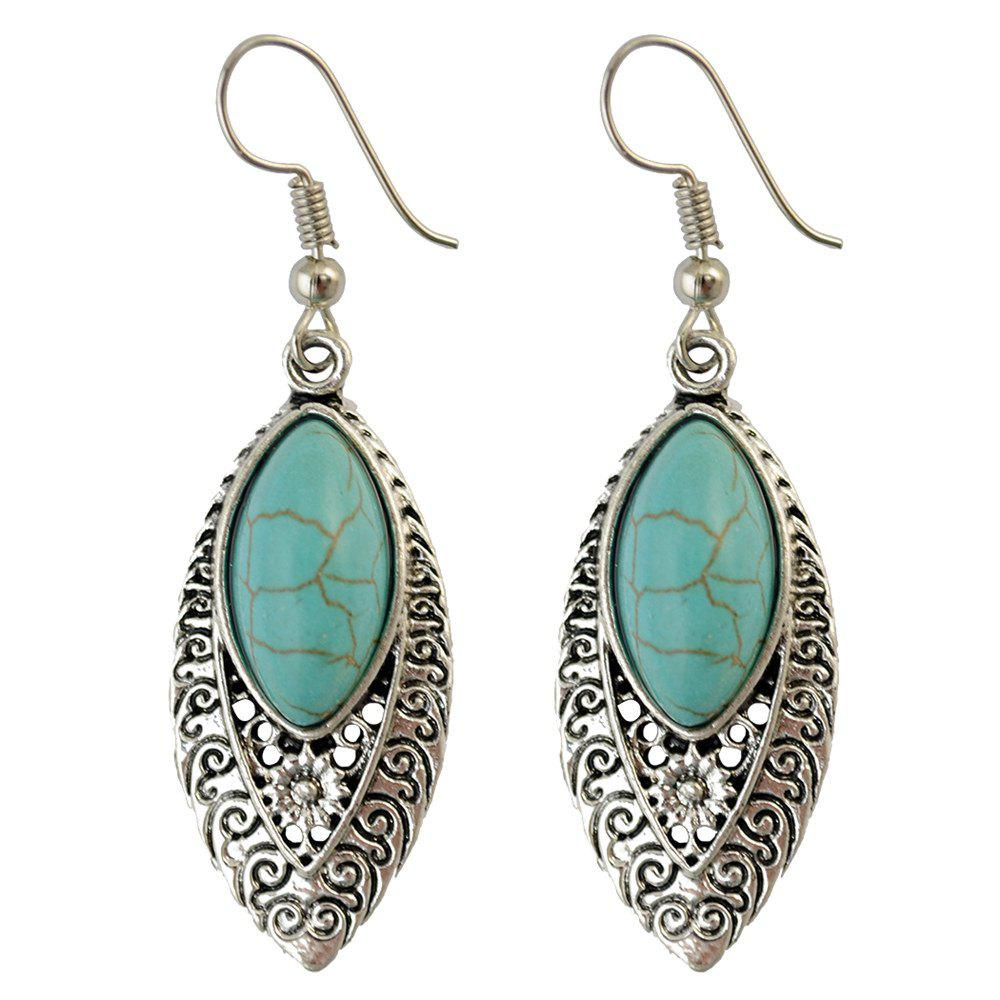 Fake Turquoise Filigree Drop EarringsJEWELRY<br><br>Color: GREEN; Earring Type: Drop Earrings; Gender: For Women; Style: Trendy; Shape/Pattern: Floral; Weight: 0.031kg; Package Contents: 1 x Earrings(Pair);