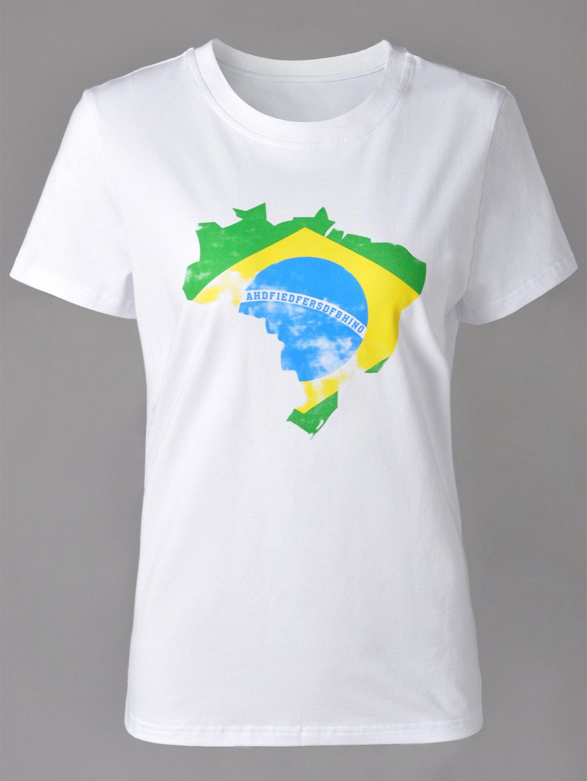 Sale Casual Round Neck Brazilian Flag Print Short Sleeve T-Shirt For Women