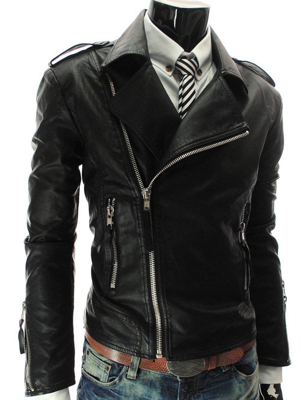 Discount Stand Collar PU-Leather Zipper Epaulet Long Sleeve Jacket For Men