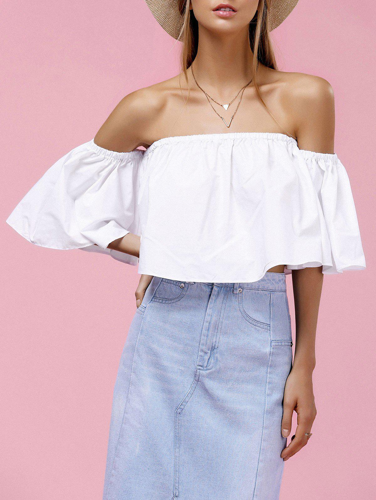 Outfits Trendy Off-The-Shoulder Pure Color Women's Blouse