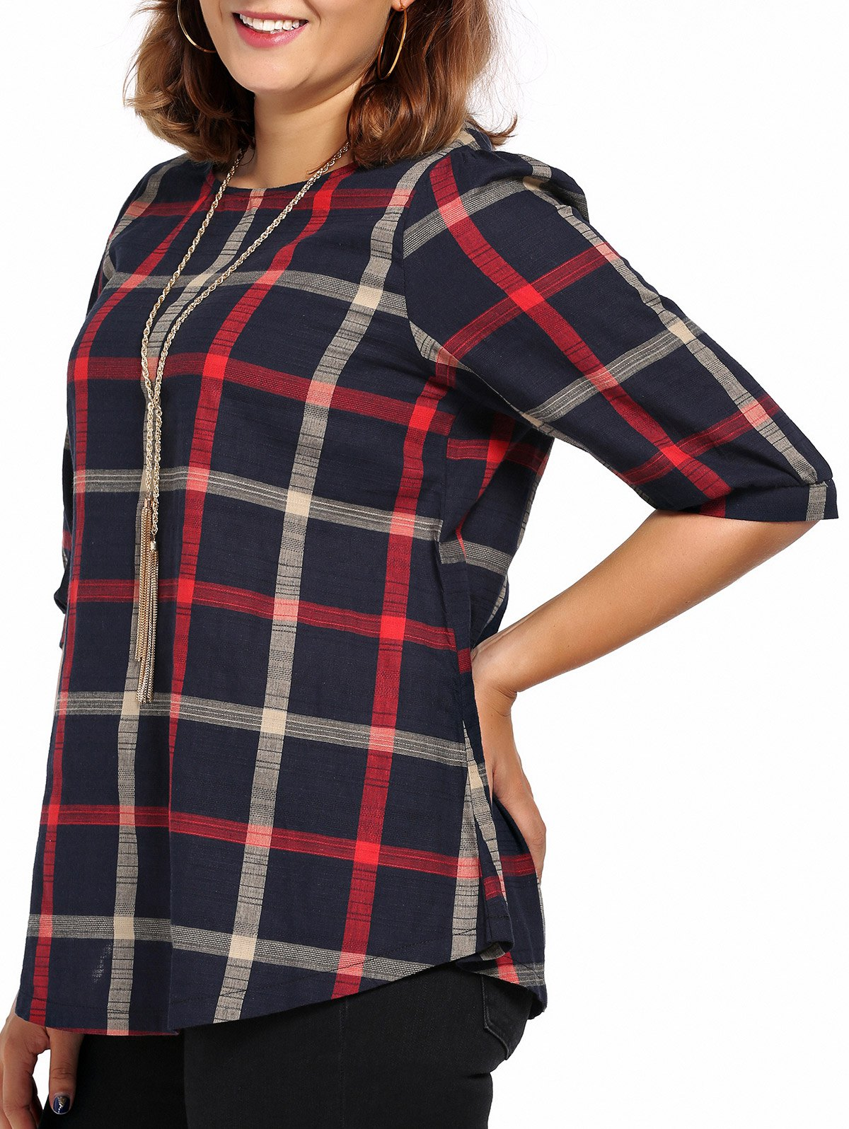 Sale Chic Plus Size Plaid Print High-Low Hem Women's Blouse