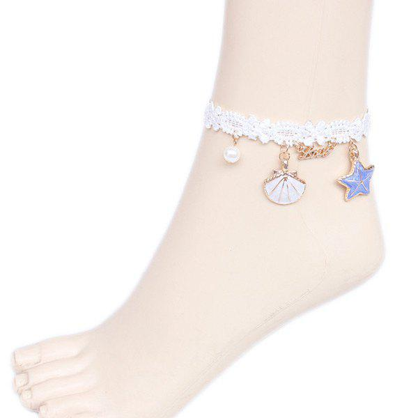 Faux Pearl Starfish Star Charm Beach AnkletsJEWELRY<br><br>Color: WHITE; Gender: For Women; Style: Trendy; Shape/Pattern: Star; Weight: 0.050kg; Package Contents: 1 x Anklet;