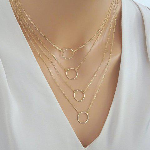 Outfits Punk Style Multilayered Circle Pendants Necklace