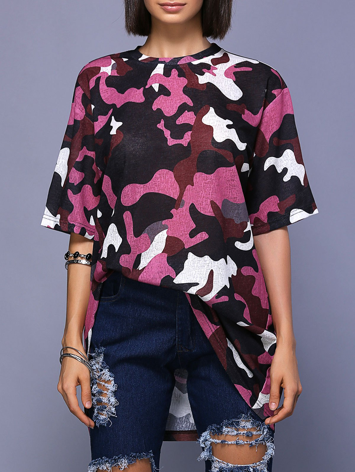 Outfits Trendy Round Neck High Slit Camo Print T-Shirt For Women