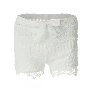 Sweet Style Solid Color Lace Tie-Up Shorts For Women - White - S
