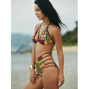 Ethnic Print High Waist African Print Bathing Suit - COLORMIX XL