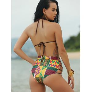 Ethnic Print High Waist African Print Bathing Suit - COLORMIX S