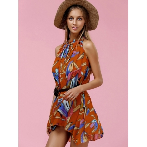 Trendy Sleeveless Printed Asymmetrical Chiffon Women's Dress -