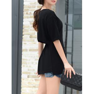 Brief Scoop Neck Half Sleeve Open Back Solid Color T-Shirt For Women -