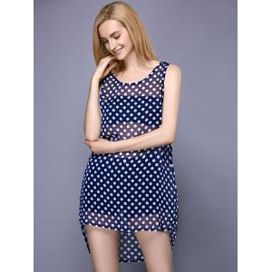 Fashionable Scoop Neck Polka Dot High Low Cover-Up For Women -