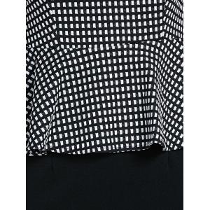 Elegant Sleeveless Checked Faux Twinset Women's OL Dress -