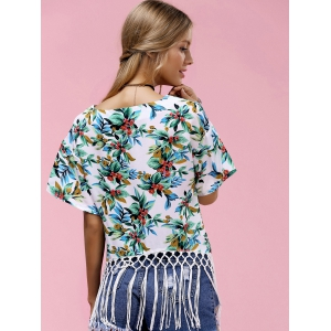 Fashionable Round Neck Floral Print Fringed Women's T-Shirt -