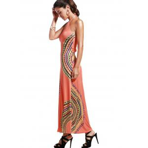Alluring Halter Neck Printed Hollow Out Women's Dress -