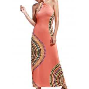 Alluring Halter Neck Printed Hollow Out Women's Dress - Orange Red - S