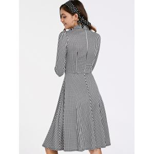 Stylish 3/4 Sleeve Bow Tie Collar Buttoned Women's Plaid Dress - WHITE AND BLACK M